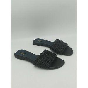 Zara Woven  Slide Flat Sandals Navy Blue 38